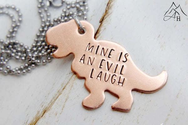 Firefly Copper T-Rex Mine Is An Evil Laugh Hand Stamped Necklace or Key chain, by Appalachian Hammer, Jewelry