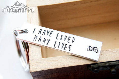 I Have Many Lives Video Game Hand Stamped Key Chain