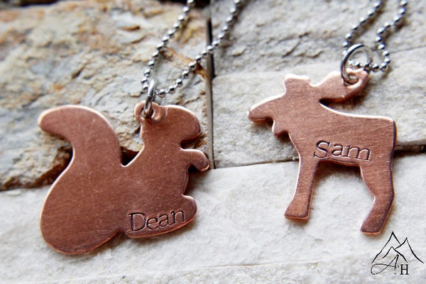 Moose and Squirrel, Sam And Dean, Supernatural Hand Stamped Copper Pendants, Animal Shapes, by Appalachian Hammer