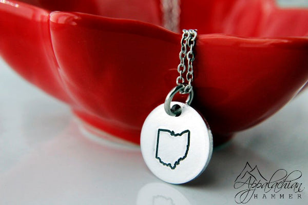 Ohio State Hand Stamped Necklace
