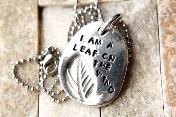 I Am A Leaf On The Wind Hand Stamped Pewter Necklace, Leaf Imprint, Firefly, Serenity, by Appalachian Hammer