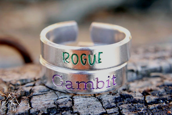 Rogue and Gambit Hand Stamped Rings by Appalachian Hammer, Jewelry, Xmen