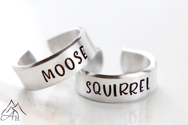Moose and Squirrel Hand Stamped Supernatural Rings by Appalachian Hammer, Jewelry, SPN, SPN Family