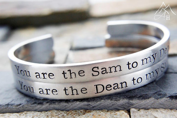 You are the Sam to my Dean, You are the Dean to my Sam, Supernatural Hand Stamped Cuff Bracelets by Appalachian Hammer, Jewelry, Fandom, SPN Family