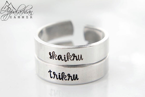 Skaikru and Trikru The 100 Hand Stamped Rings by Appalachian Hammer