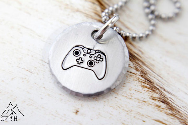 Game controller hand stamped necklace xbox one appalachian hammer game controller hand stamped necklace xbox one aloadofball Choice Image