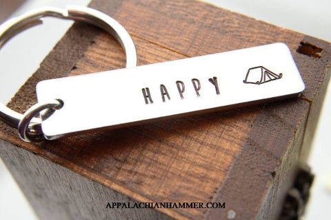 Happy Tent Camper Hand Stamped Rectangle Long Pendant, Key Chain or Necklace