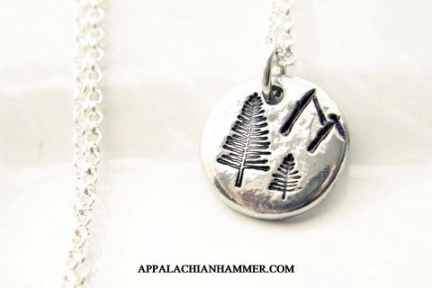 Mountain Forest Hand Stamped Pewter Necklace