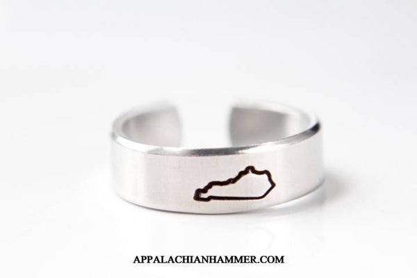Kentucky State Aluminum Hand Stamped Adjustable Ring