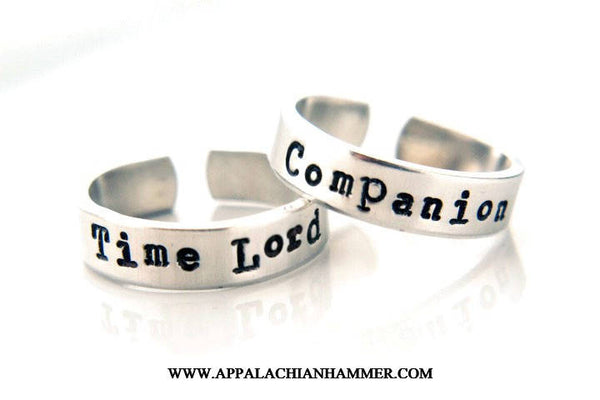Time Lord or Companion Hand Stamped Adjustable Aluminum Rings