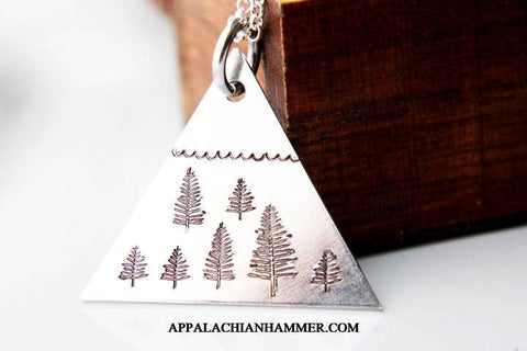 Triangle Mountain Hand Stamped Necklace
