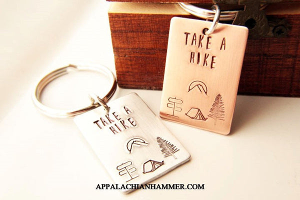 Take A Hike Hand Stamped Rectangle Key Chain