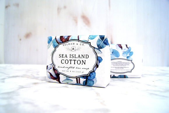 SEA ISLAND COTTON Handcrafted Bar Soap, with Silk & Cotton Honey