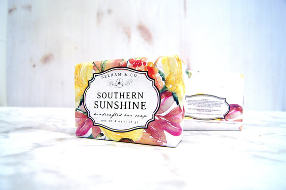 SOUTHERN SUNSHINE Handcrafted Bar Soap, Goat's Milk Soap, Lemon Verbena Soap, Citrus Soap Bar, Calendula Soap