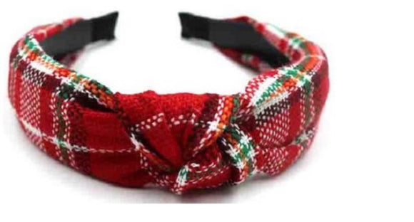 Plaid knitted hairband