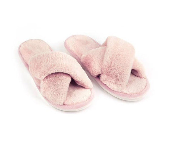 Cozy pink fur slippers