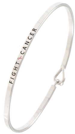 """Fight Cancer"" Inspirational Bangle Bracelet"