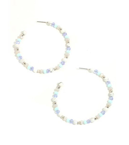 Dainty beaded hoop earrings