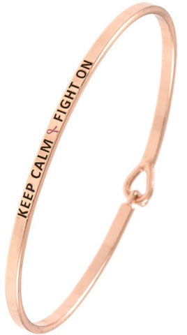 """Keep Calm Fight On"" Inspirational Bangle Bracelet"