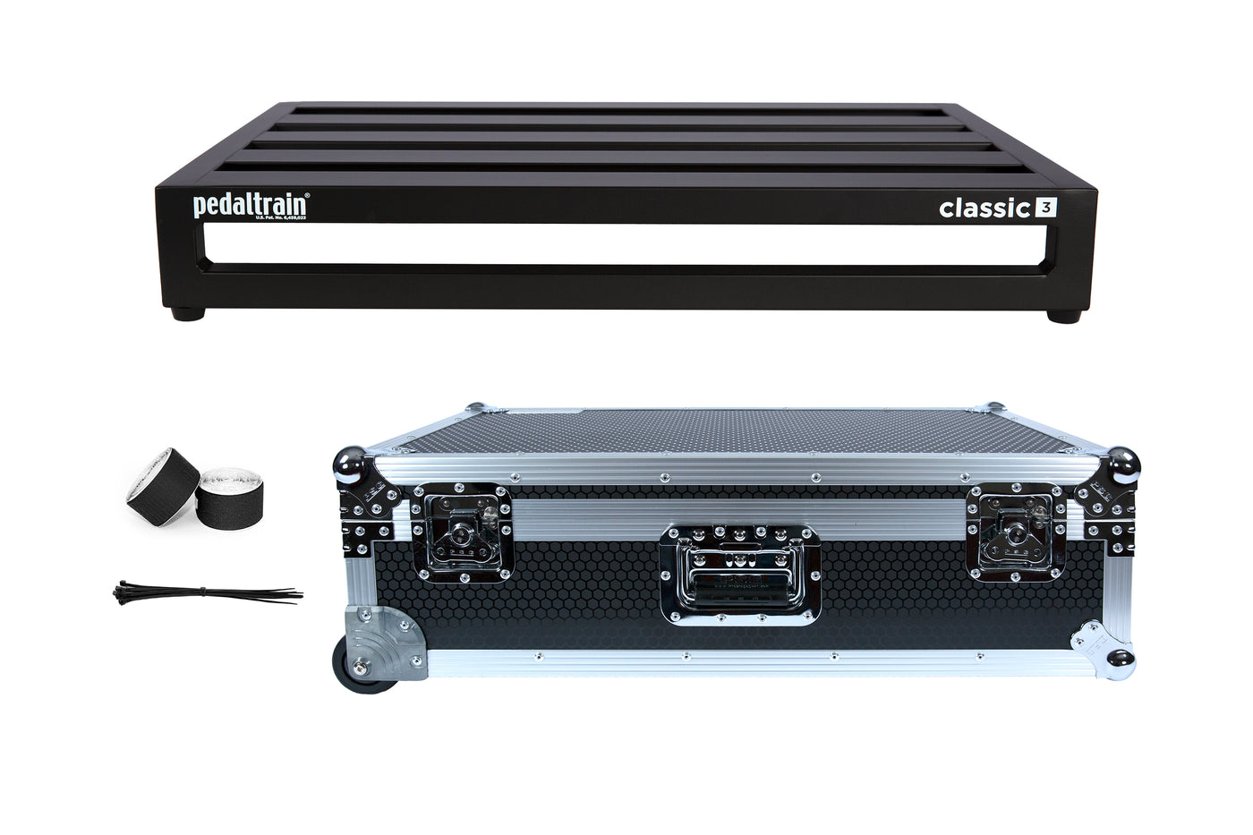 Pedaltrain Classic 3 with Wheeled Tour Case in Black Honeycomb Finish