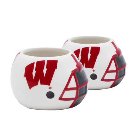 Wisconsin Badgers - Ceramic Helmet Planter – Empty Planter - Pack Of Two