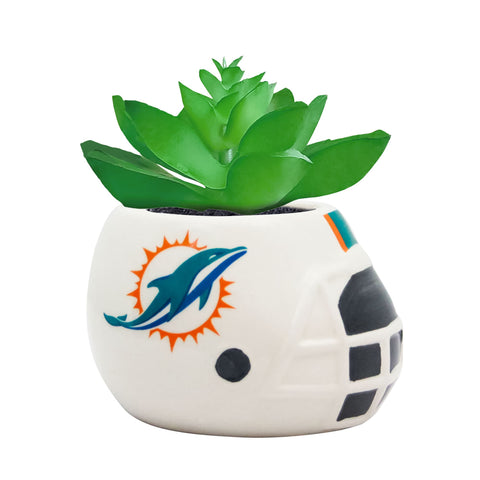 Miami Dolphins - Ceramic Helmet Planter – Faux Succulent - Pack Of Two