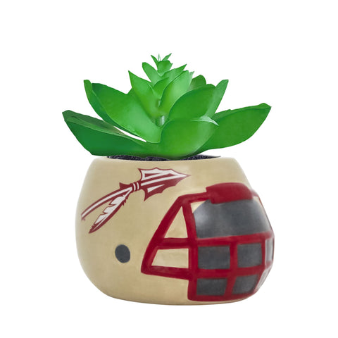 Florida State Seminoles - Ceramic Helmet Planter – Faux Succulent <br> Pack Of Two
