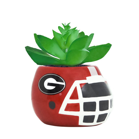 Georgia Bulldogs - Ceramic Helmet Planter – Faux Succulent - Pack Of Two
