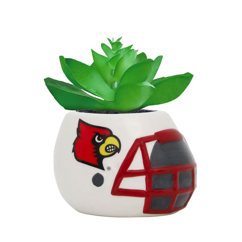 Louisville Cardinals - Ceramic Helmet Planter – Faux Succulent - Pack Of Two