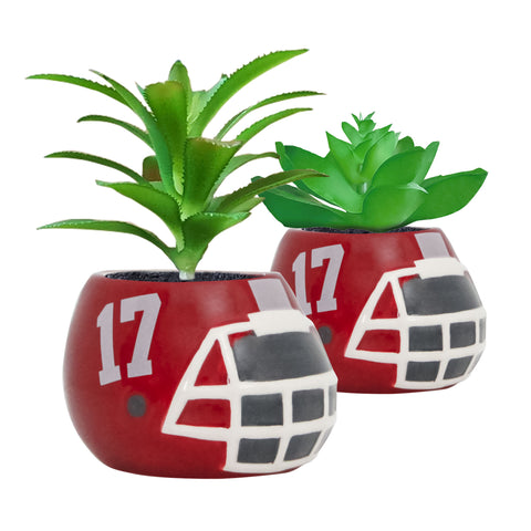 Alabama Crimson Tide - Ceramic Helmet Planter – Faux Succulent - Pack Of Two
