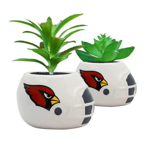 Arizona Cardinals - Ceramic Helmet Planter – Faux Succulent - Pack Of Two