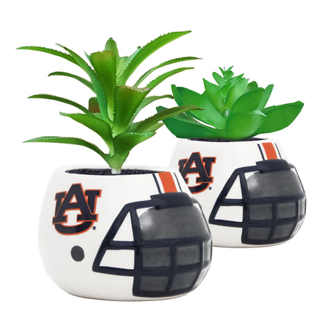 Auburn Tigers - Ceramic Helmet Planter – Faux Succulent - Pack Of Two
