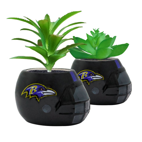 Baltimore Ravens - Ceramic Helmet Planter – Faux Succulent - Pack Of Two