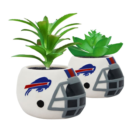 Buffalo Bills - Ceramic Helmet Planter – Faux Succulent - Pack Of Two