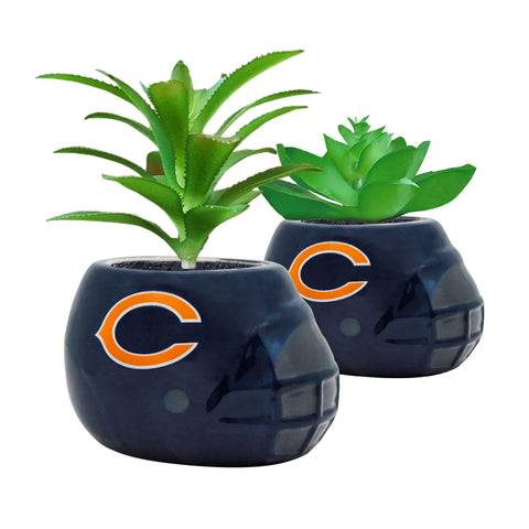 Chicago Bears - Ceramic Helmet Planter – Faux Succulent - Pack Of Two