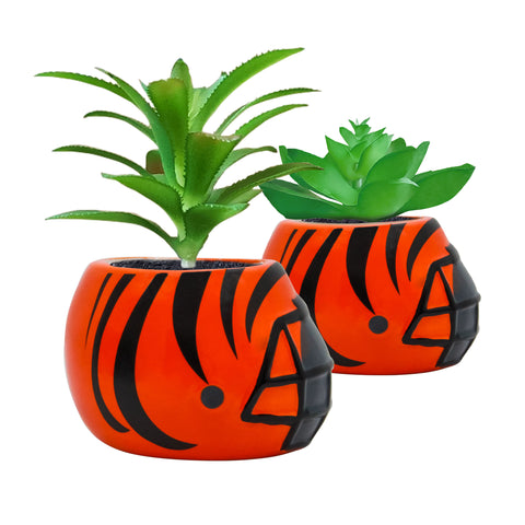Cincinnati Bengals - Ceramic Helmet Planter – Faux Succulent - Pack Of Two