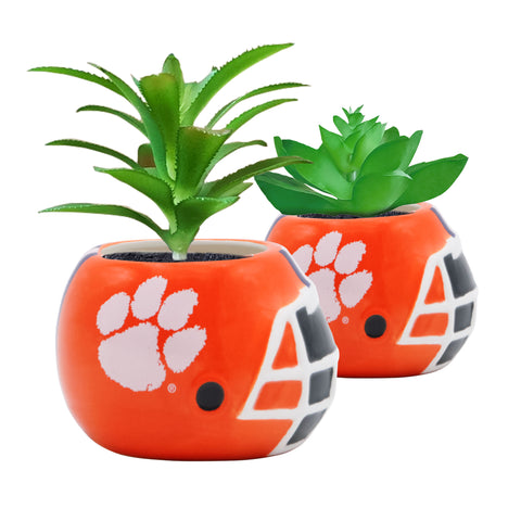 Clemson Tigers - Ceramic Helmet Planter – Faux Succulent - Pack Of Two