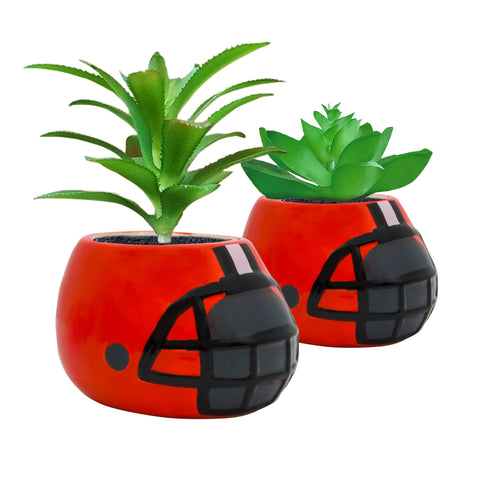 Cleveland Browns - Ceramic Helmet Planter – Faux Succulent - Pack Of Two