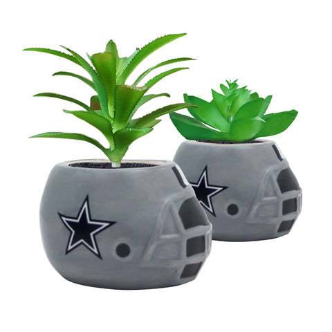 Dallas Cowboys - Ceramic Helmet Planter – Faux Succulent - Pack Of Two