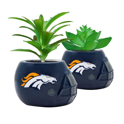 Denver Broncos - Ceramic Helmet Planter – Faux Succulent - Pack Of Two