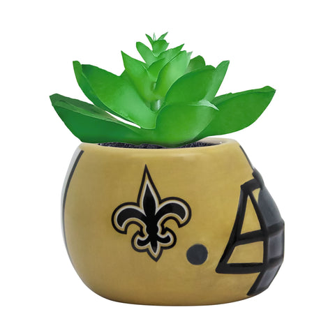 New Orleans Saints - Ceramic Helmet Planter – Faux Succulent - Pack Of Two