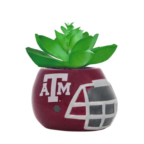 Texas A&M Aggies - Ceramic Helmet Planter – Faux Succulent