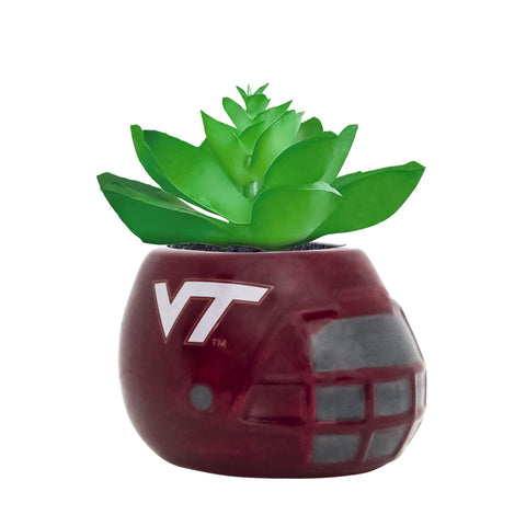 Virginia Tech Hokies - Ceramic Helmet Planter – Faux Succulent - Pack Of Two