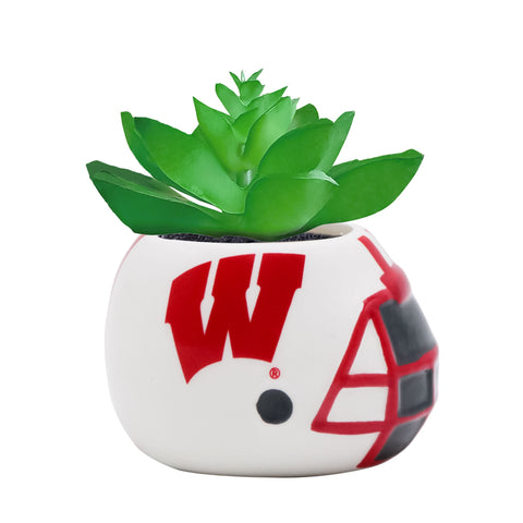Wisconsin Badgers - Ceramic Helmet Planter – Faux Succulent - Pack Of Two