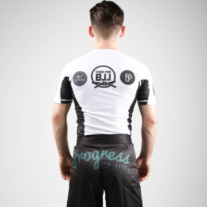Powerful Yoga for BJJ Rash Guard - White