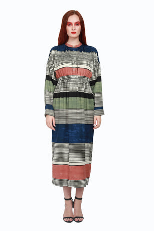 FANNIE NAVY MULTI DRESS