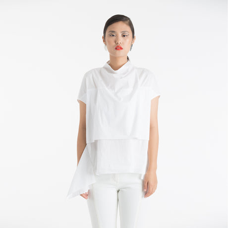 WHITE DOUBLE LAYERED BLOUSE
