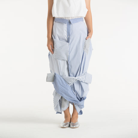 BLUE STRIPED WOVEN SKIRT