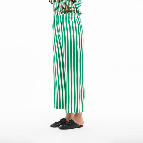 GREEN STRIPES TROUSERS