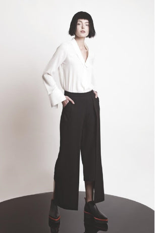 BLACK DOUBLE LAYERED PANTS